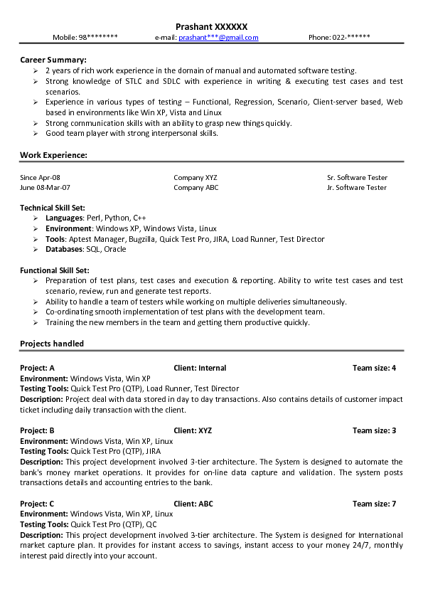 sample resume for junior level