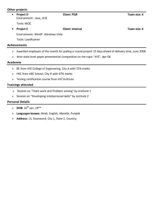 Sample Resume For Junior Level
