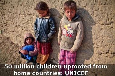 50 million children uprooted from home countries: UNICEF